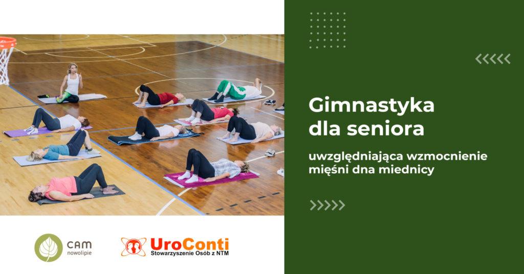 grafika napis: Gimnastyka dla seniora uwzględniajaca wzmocnienie mięśni dna miednicy - Stowarzyszenie UroConti