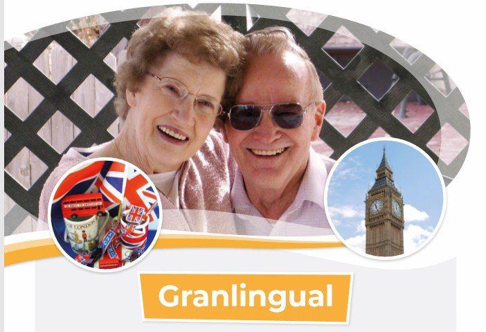 Para, kobieta i męzczyzna, starszych, uśmiechniętych osób oraz napis granilingual - który jest tytułem projektu