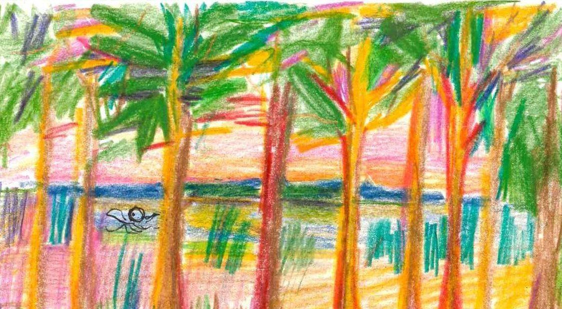 Jedna z pocztówek z Powakacyjnej zbiórki wspomnień, przedstawiająca palmy, za nimi zbiornik wodny z pływającymi ludźmi.