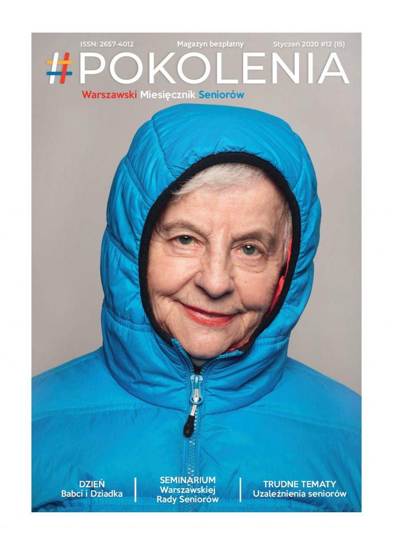 starsza kobieta w niebieskiej kurtce z kapturem na głowie, powyżej tytuł miesięcznika #POKOLENIA
