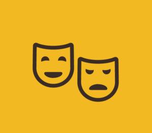 Dwie maski symbolizujące maski teatralne na żółtym tle, jedna ma usta w uśmiech,u druga opuszczone w dół.