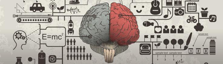 Grafika przedstawia rysunek mózgu. Lewa półkukula w kolorze czwrwonym, prawa w szarym. Wokół widać różne piktogramy i symbole.