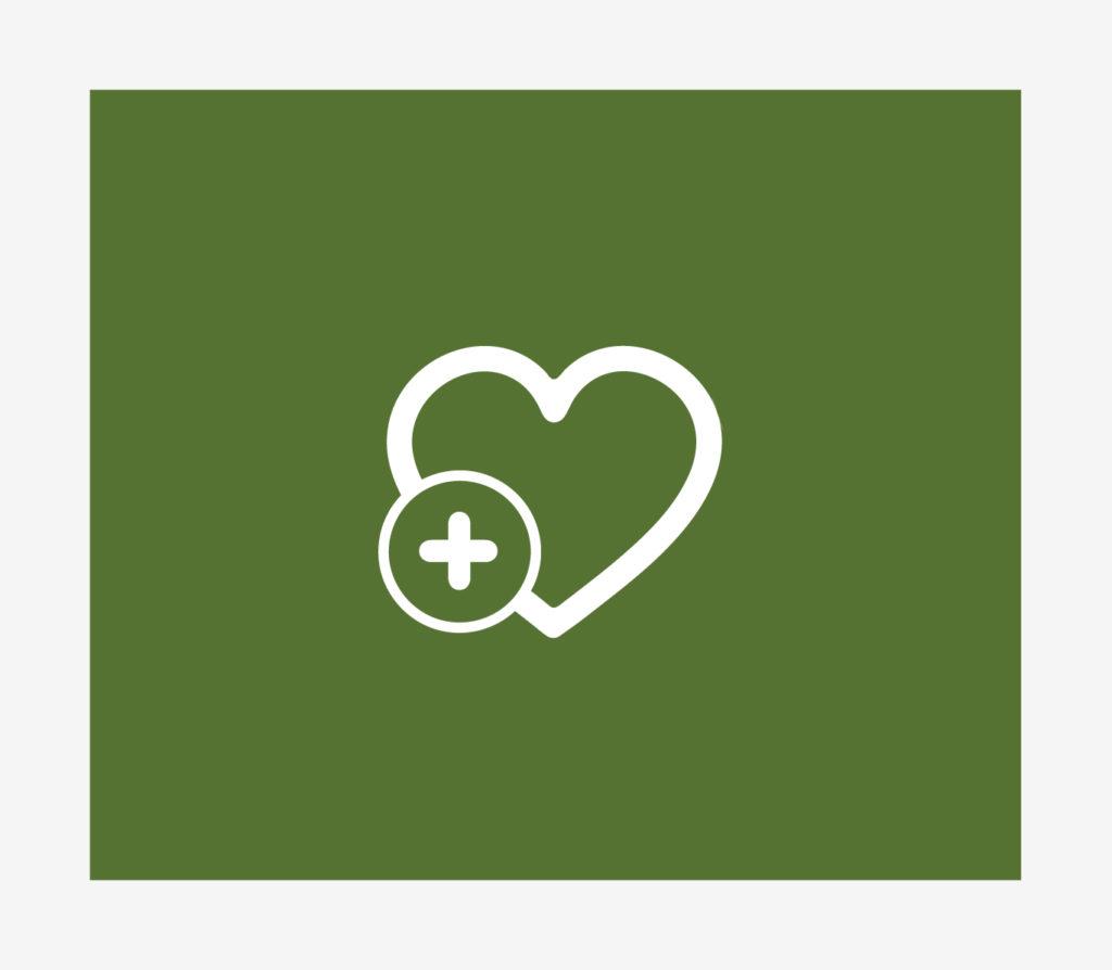 Piktogram: strona z tekstem, serce na zielonym tle