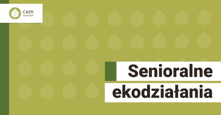 Na zielonym tle widoczne na całej grafice listki lipy - logo CAM. na dole po lewej stronie napis Esnioralne ekodziałania.