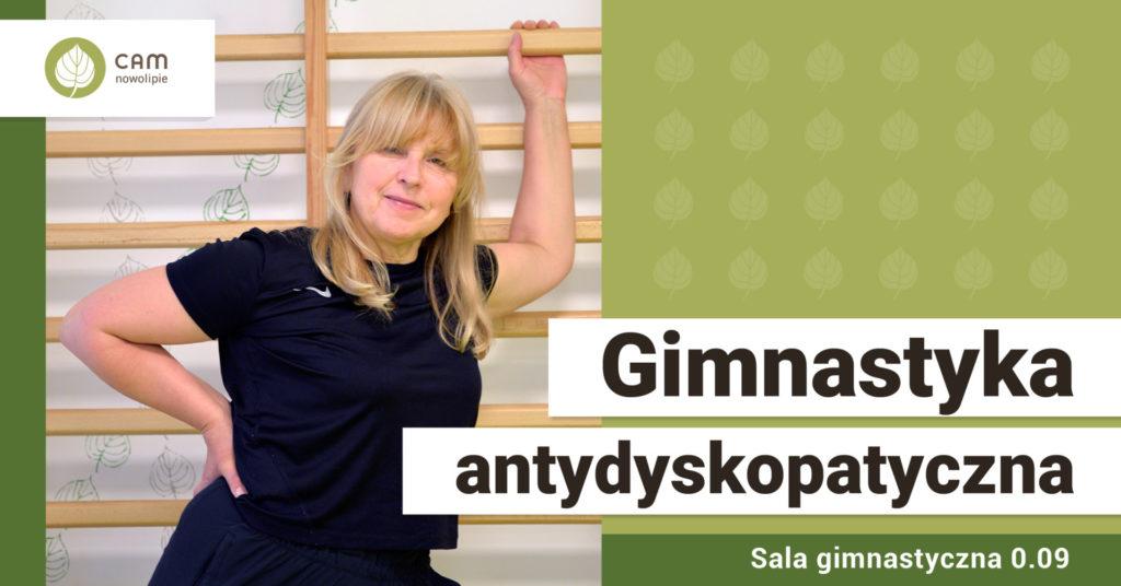 Kobieta w stroju sportowym opiera sie o drabinkę sportową. Na dole po lewej stronie napis: Gimnastyka antydyskopatyczna.
