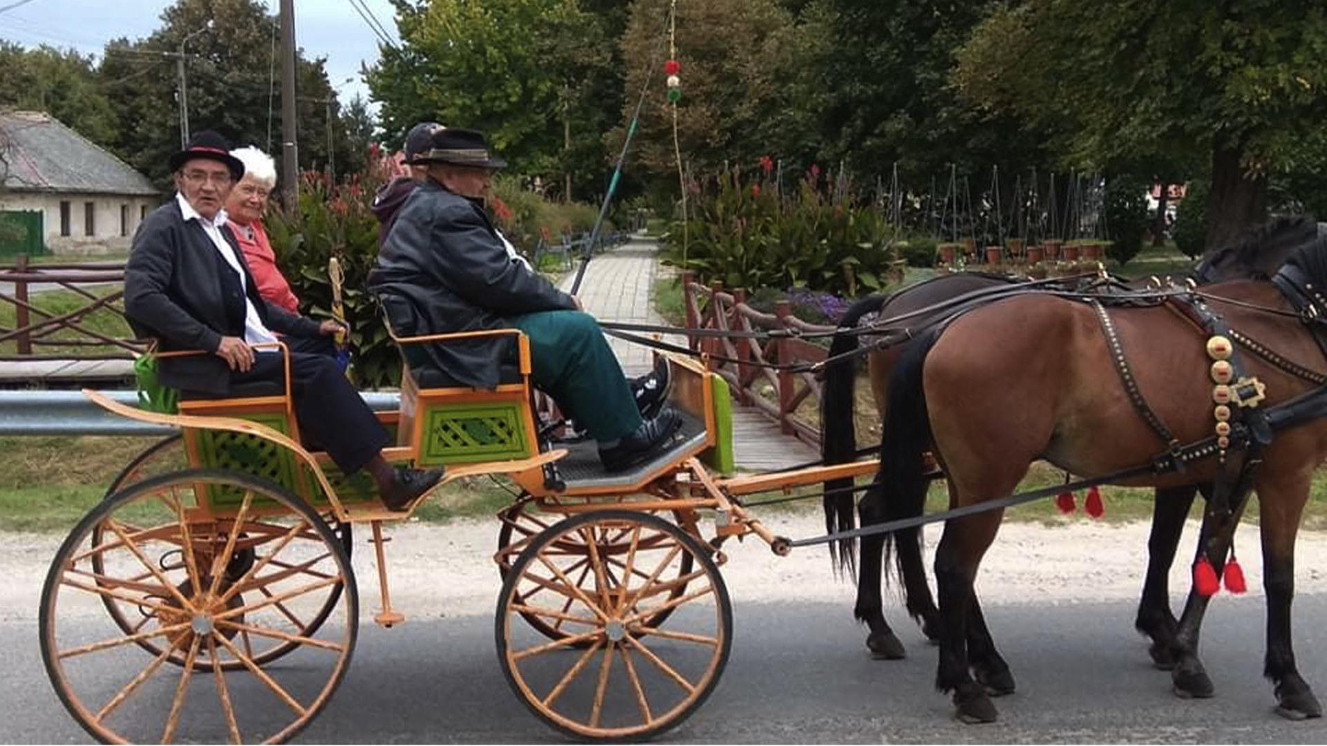 Otwarta bryczka ciągnięta przez dwa konie. Na bryczce siedzą cztery osoby w strojach ludowych.