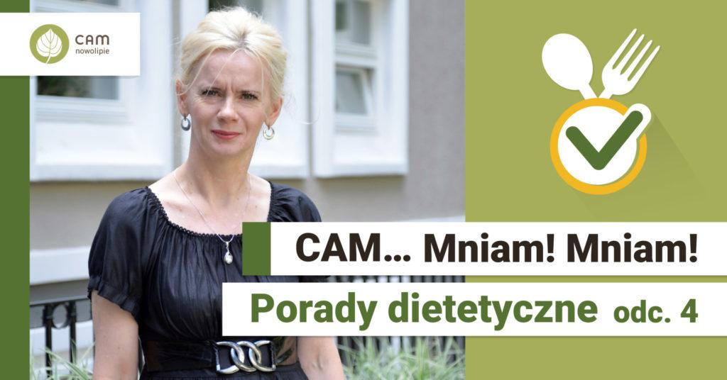 Po prawej stronie kobieta w czarnej bluzce z włosami blond stoi na tle budynku. Z prawej strony na żółtym tle skrzyżowany widelec z łyżką, na dole napis CAM … Mniam Mniam! Porady dietetyczne odc. 4.