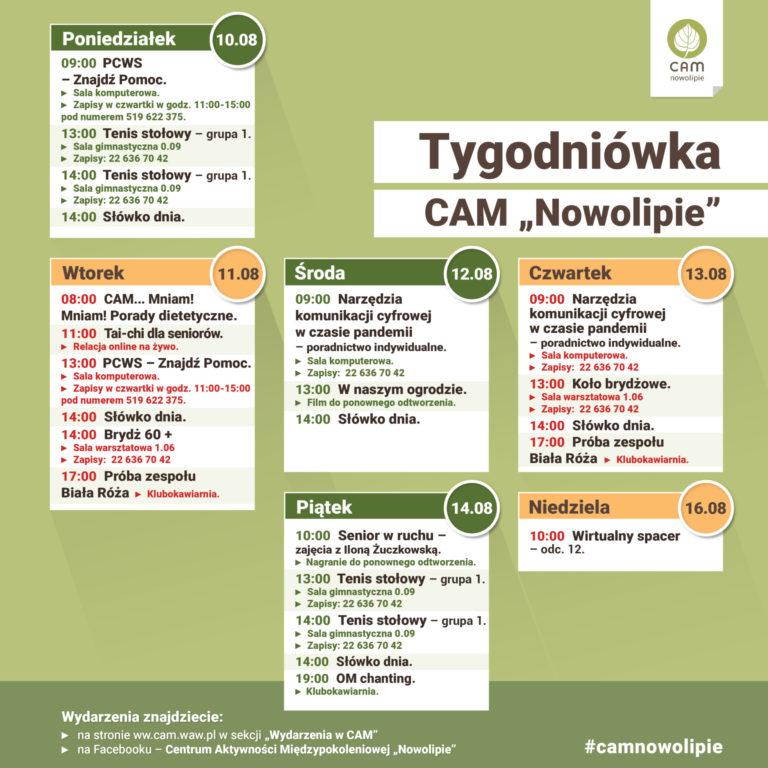 Na zielonym tle prostokaty wypełnione informacjami o działaniach każdego dnia w CAM, 10-16 sierpnia.