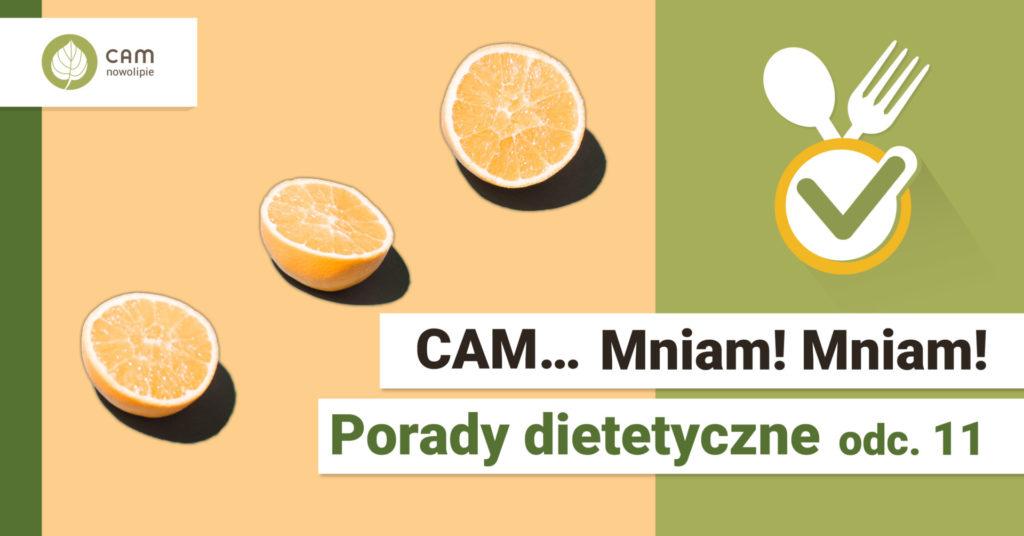 Dwie połówki pomarańczy oraz napis: ZAM Mniam Mniam Porady dietetyczne.