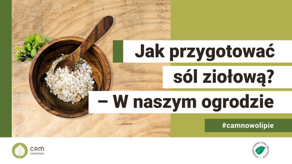 możdziez z sola. Napis: Jakprzygotować sól ziołową?