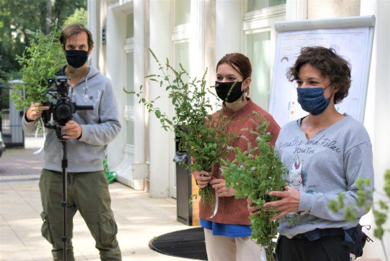 Trzy osoby trzymają w rękach doniczki.