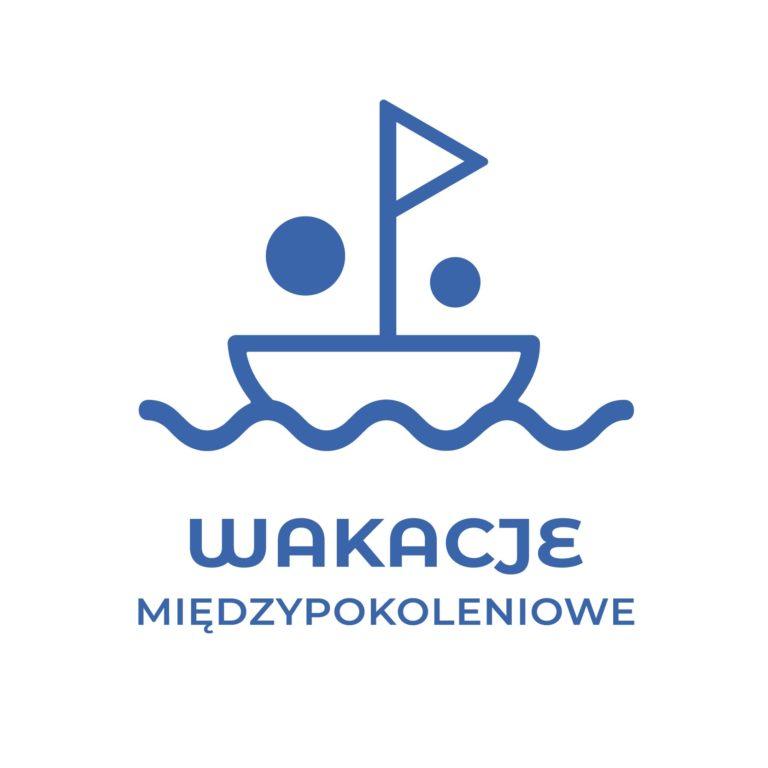 Logo konkursu - łódka i napis wakacje międzypokoleniowe.