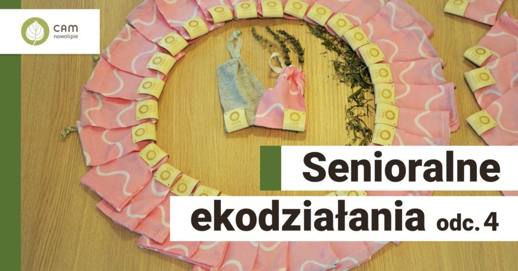 okrąg zrobiony z woreczków na zioła. Napis Senioralne ekodziałania odc. 4.