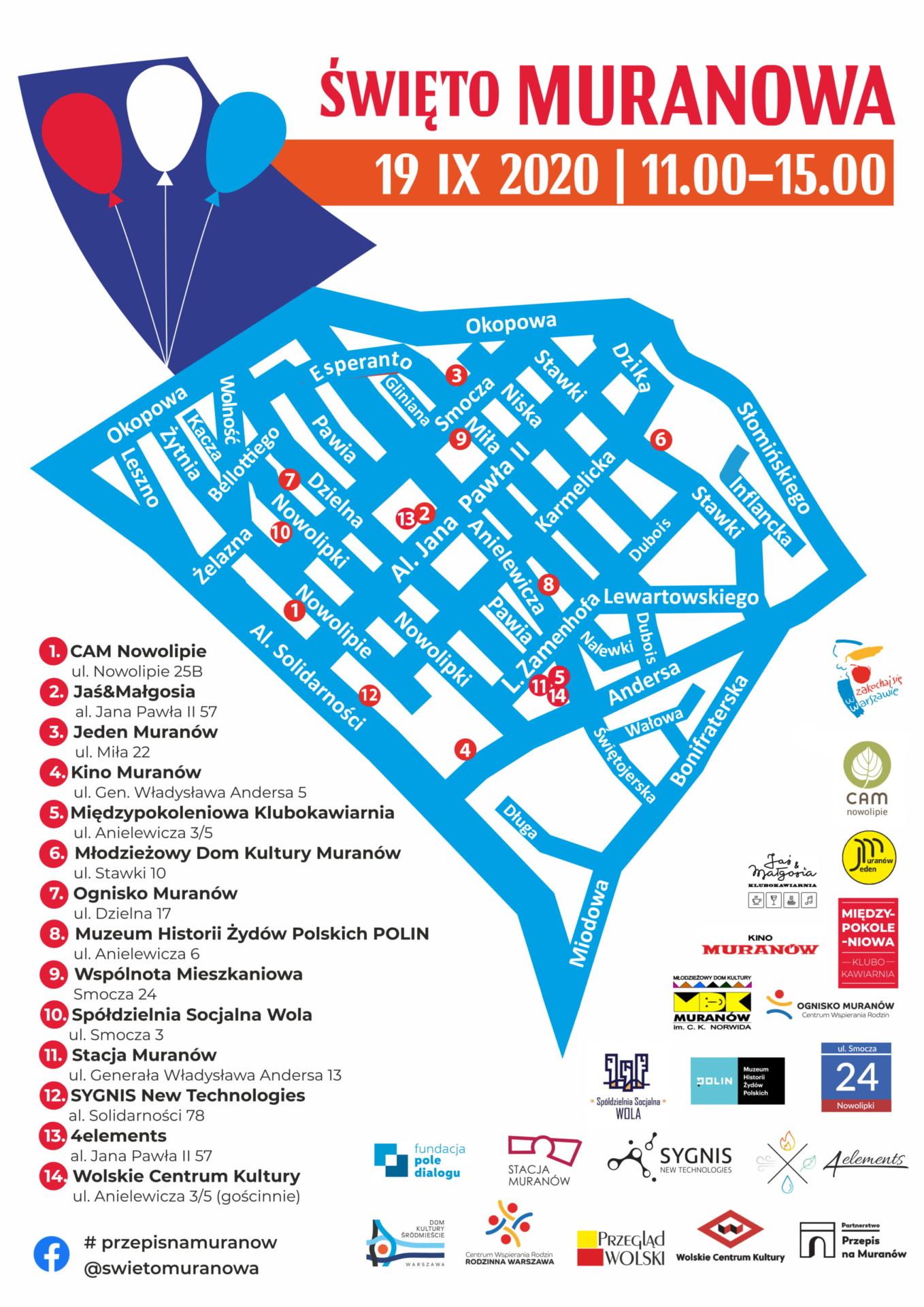 Mapa Osiedla Muranów wraz z listą miejsc biorących udział w Święcie Muranowa.