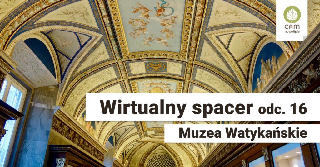Sufit w sali w Watykanie. Napis Wirtualny spacer odc. 16.