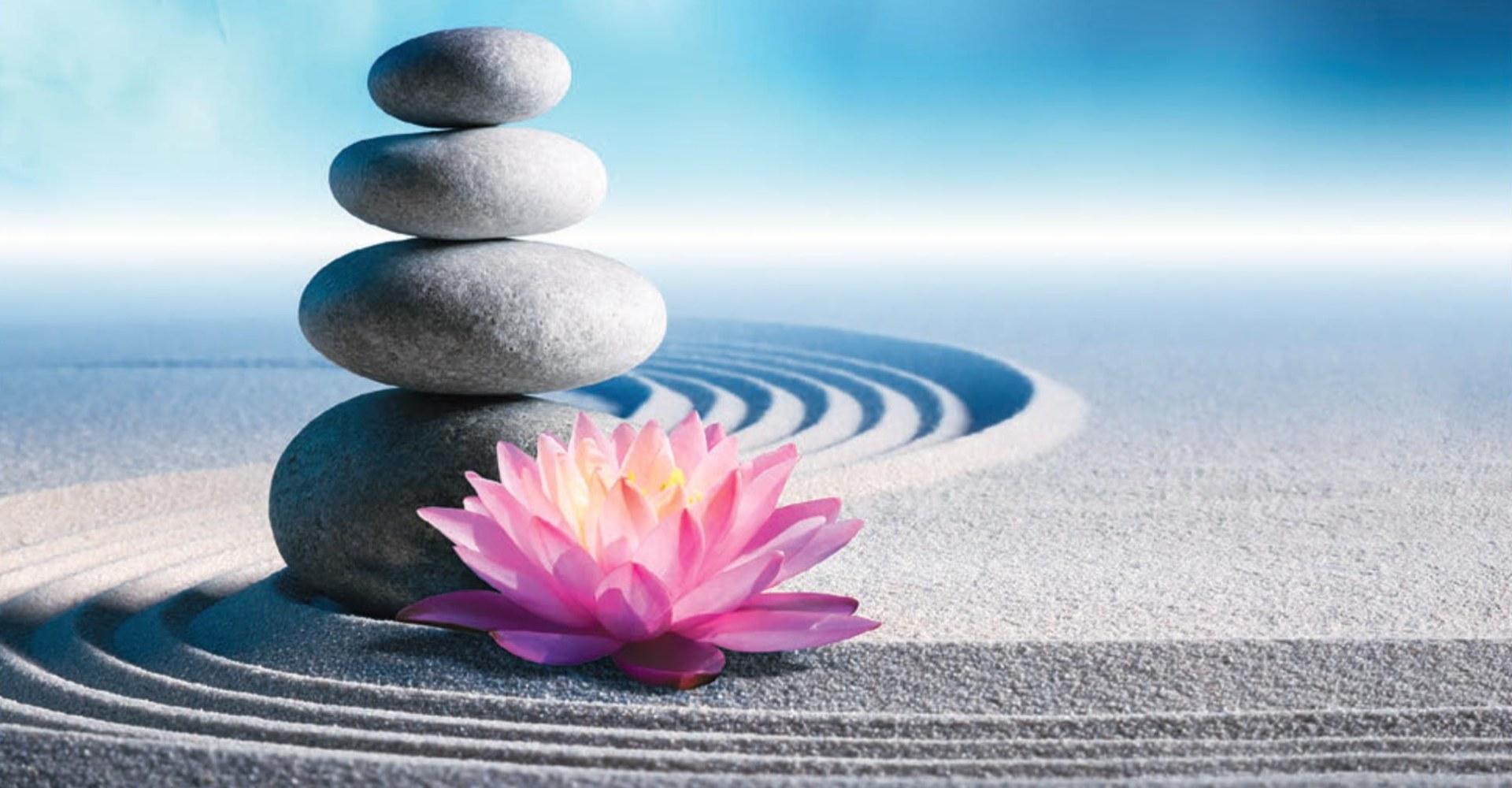 Liść lotosu i ułożone na sobie kamienie.