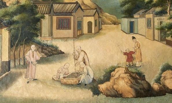 Scena z życia codziennego na tle pejzażu (fragment chińskiej tapety w Pokoju Kompanii w Białym Domu)