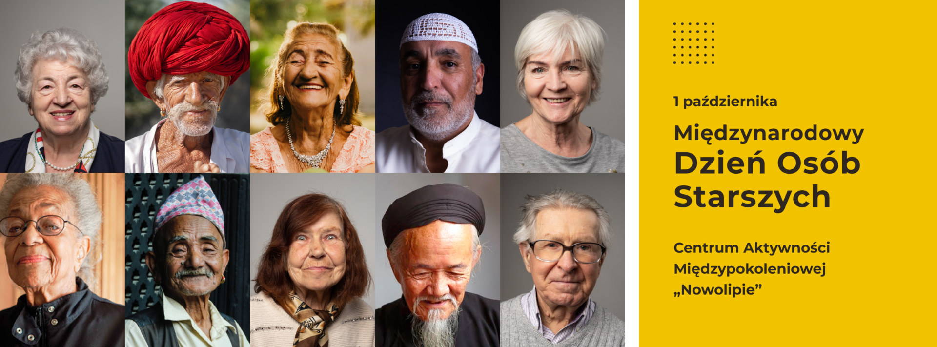 Sześć zdjęć seniorów z różnych krajów.