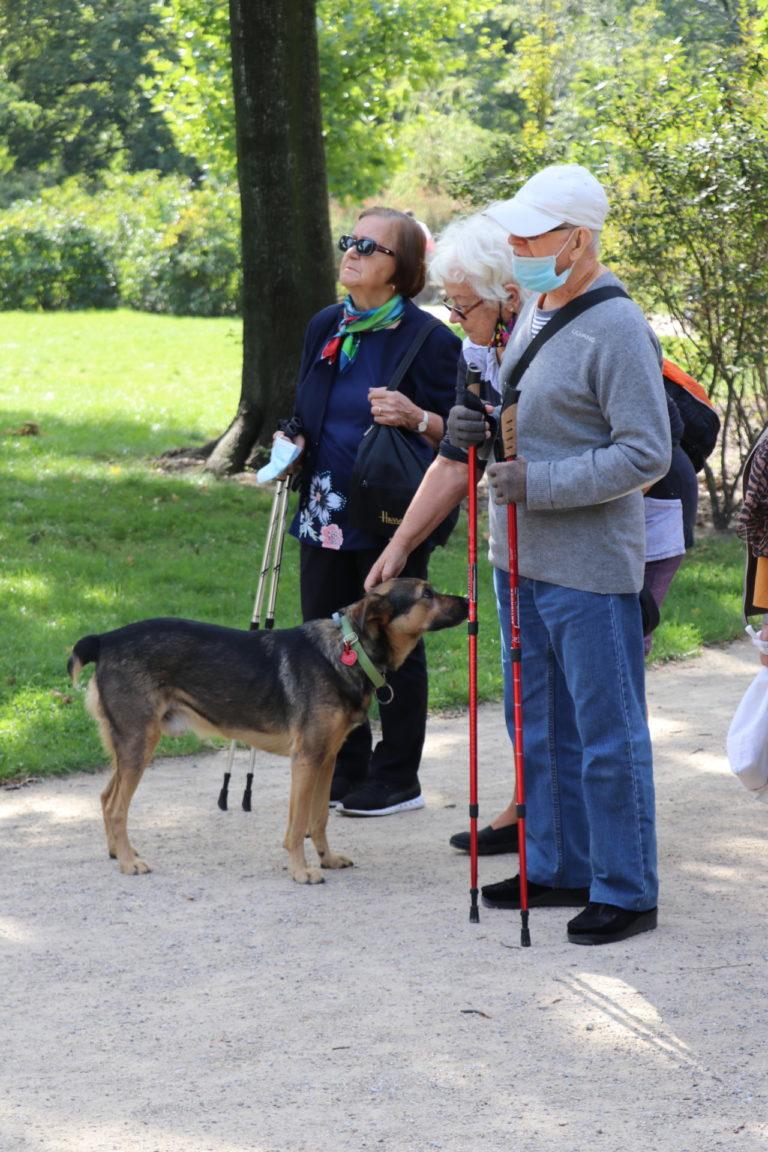 Trukja uczestników spaceru z psem.