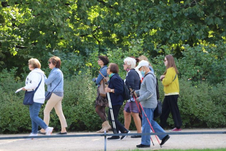 7 osób spacerujących po parku.
