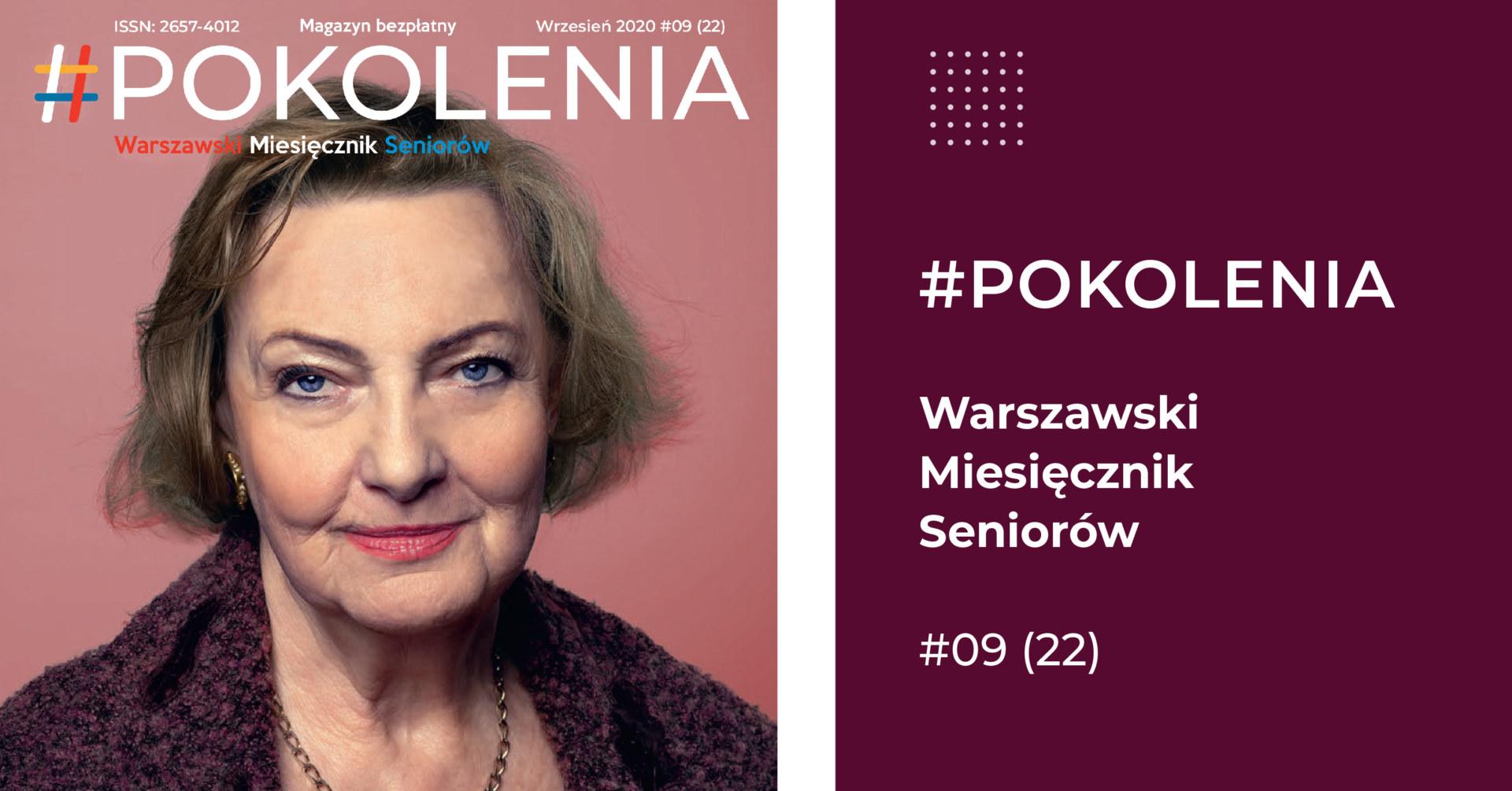 Portret starszej kobiety na różowym tle, oraz napis.