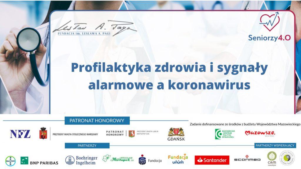 Grafika, tytuł zajęć Profilaktyka zdrowia i sygnały alarmowea koronawirus