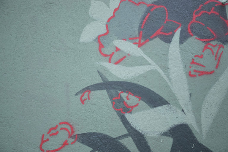 Element muralu: kontury kwiatów i lisci
