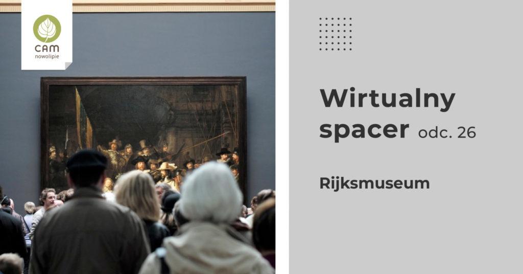 Tłum zwiedzajacych muzeum zgromadzony przed obrazem.
