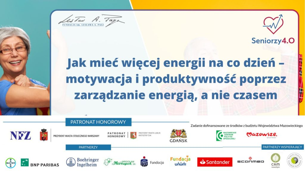Grafika z napisem: Jak mieć więcej energii na codzień?