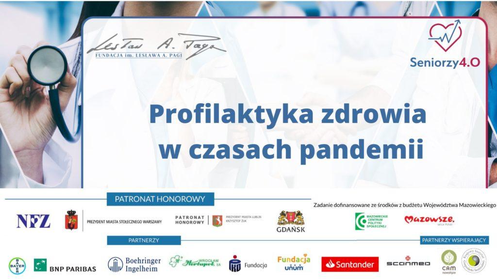 Grafika z napisem ;Profilaktyka zdrowia w czasie pandemii