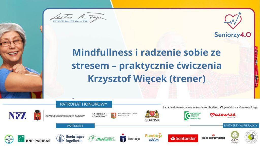Grafika z napisem: Mindfullness i radzenie sobie ze stresem – praktycznie ćwiczenia Krzysztof Więcek (trener)