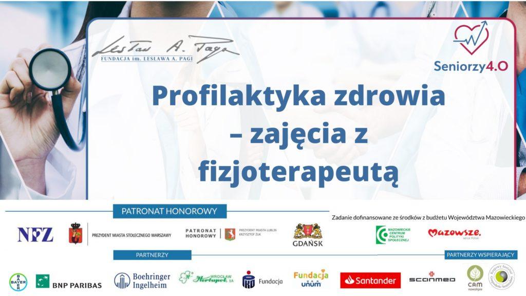 Grafika z napisem: prodilaktyka zdrowia zajęcia z Fizjoterapeutą