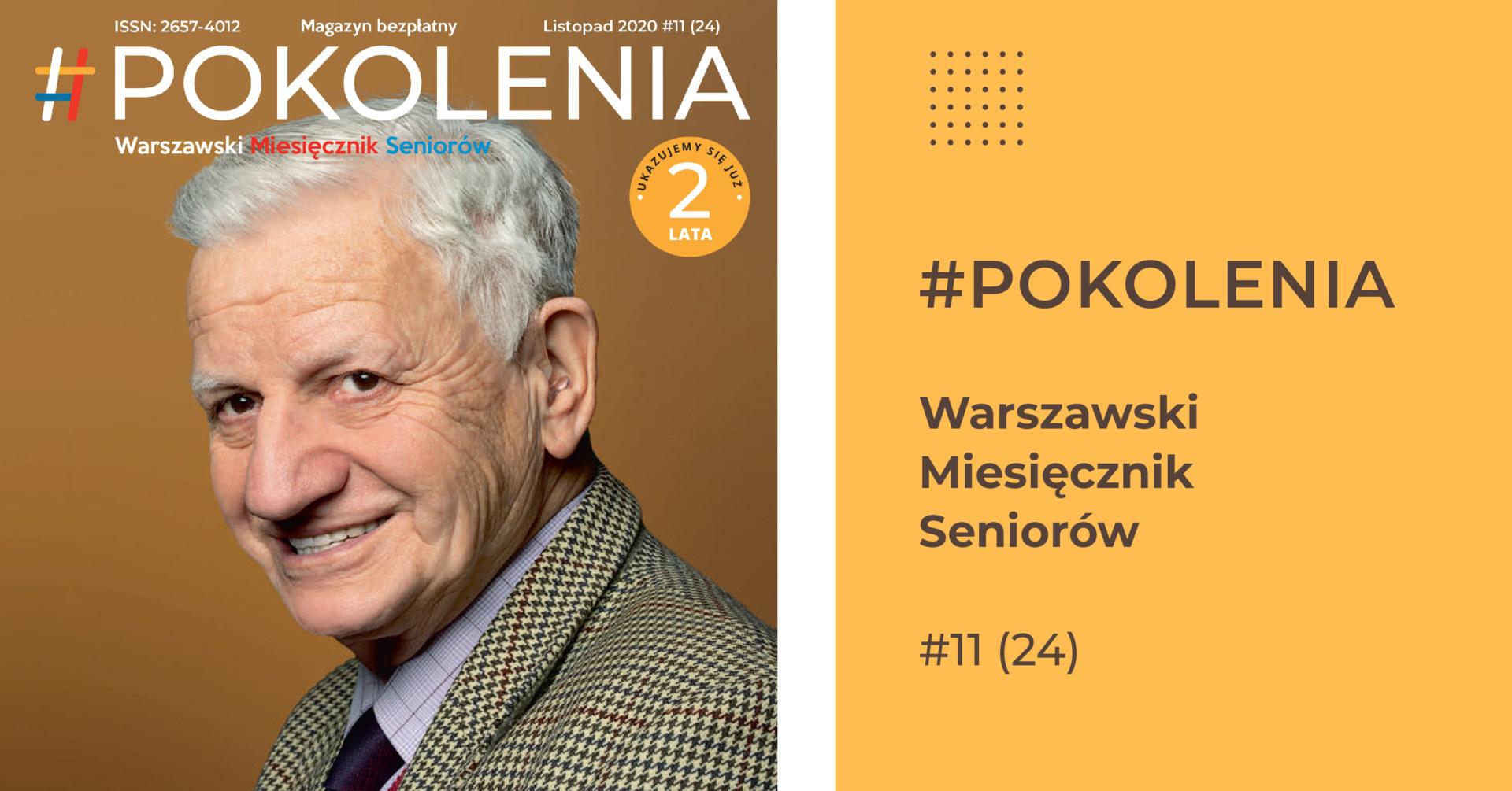 Po prawej stronie zdjęcie starszego, uśmiechniętego mężczyzny. Po prawej żółta plansza z napisem.