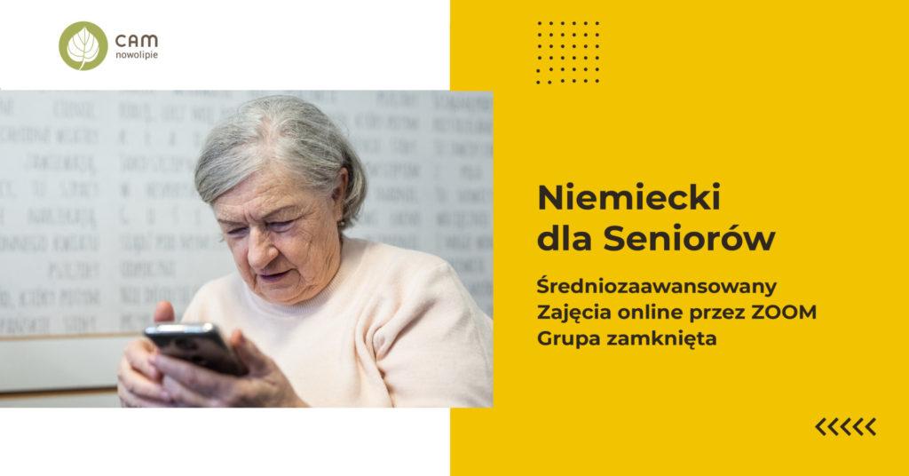 Grafika z napisem: Niemiecki dla Seniorów, średniozaawansowany, zajęcia online przez zoom, Grupa zamknięta