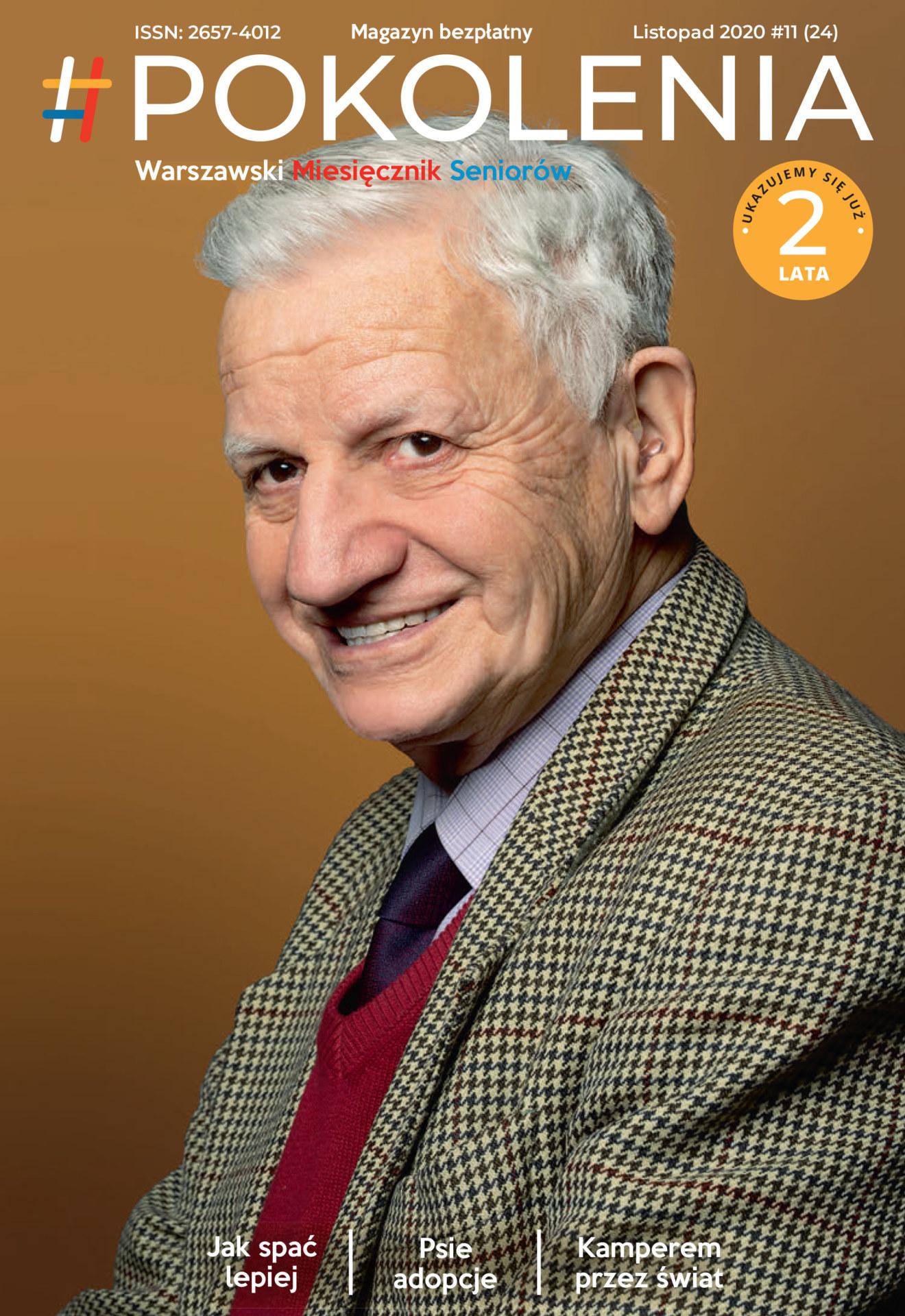 Starszy mężczyzna uśmiecha się. Okładka 24 nr Pokolenia.