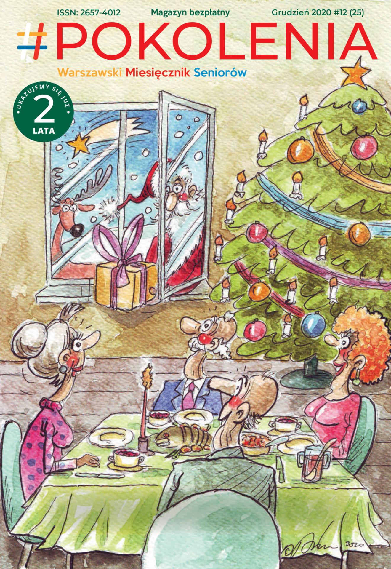 Rysunek przedstawiajacy kilka osób siedzących przy stole, choinkę i Mikołaja za oknem.