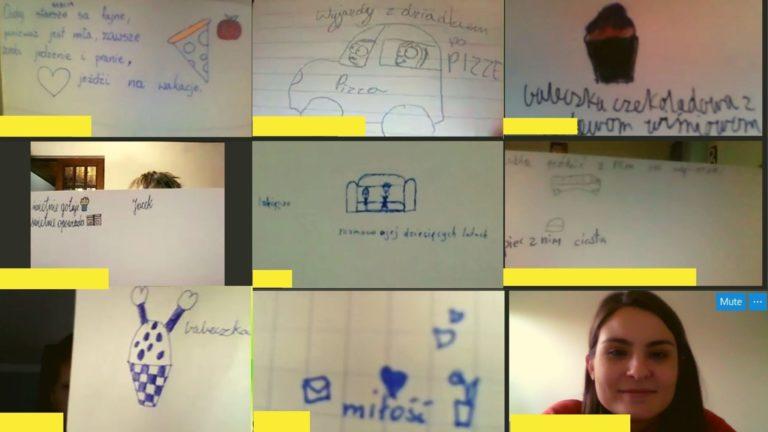Widok monitora z lekcji online, gdzie widać rysunki dzieci biorących udział w lekcji.