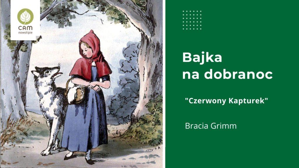 Ilustracja do bajki Czerwony Kapturek. Dziewczynka z czerwonym kapturkiem oraz wilk.