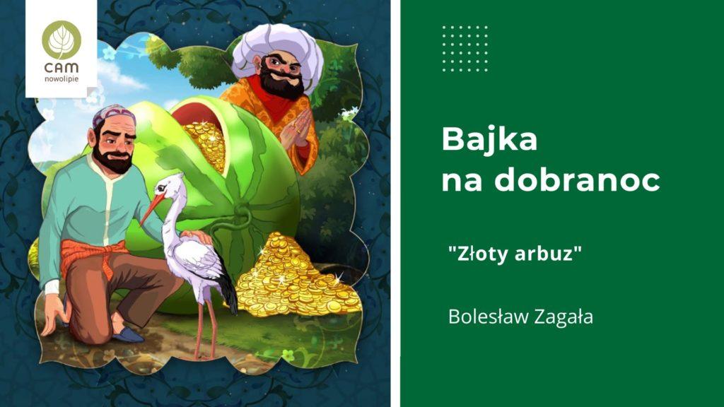 Grafika podzielona na dwie części. Po lewej ilustracja przedstawiająca dwóch mężczyzn. Jeden z nich jest w turbanie, drugi przyklęka przed dużym białym ptakiem i głaszcze go. Na ziemii widać rozsypane złote dukaty.