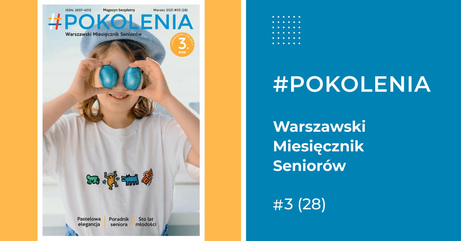 Po lewej stronie grafiki dziewczynka w niebieskim kapeluszu. Trzyma w obydwu rękach na wysokości oczu niebieskie jajka. Po prawej informacje dot. numeru.
