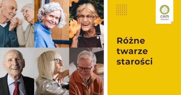 twarze osób starszych, kobiet i męzczyzn napis Różne Twarze starości