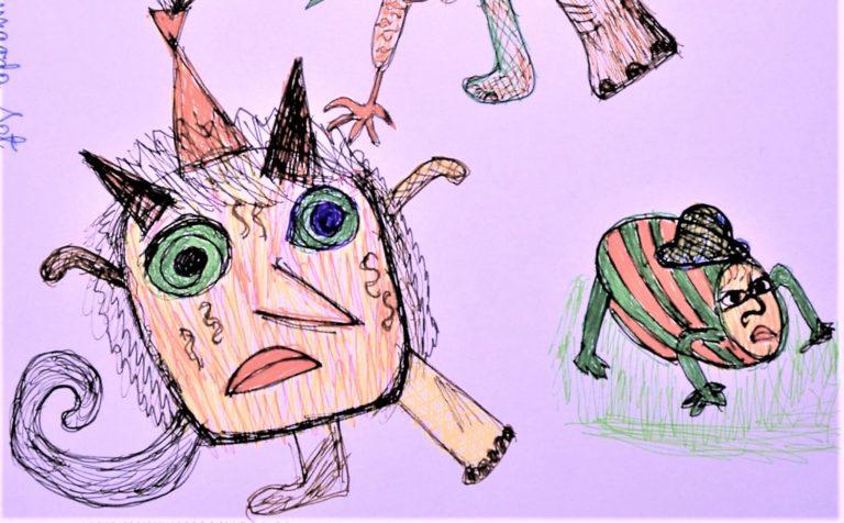 Fragment pracy dot. rysowania potworów.